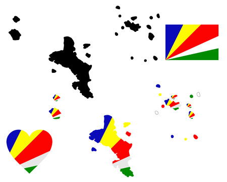 map flag and symbol of Seychelles on a white background