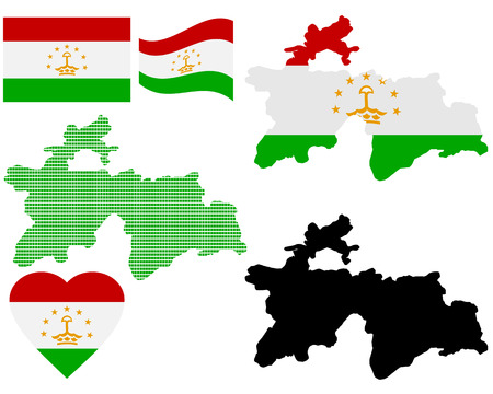 far east: map flag and symbol of Tajikistan on a white background Illustration