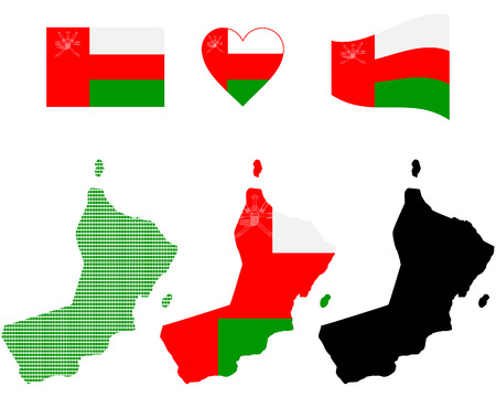 map flag and symbol of Oman on a white background