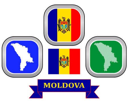 moldovan: map button and flag of Moldova symbol on a white background