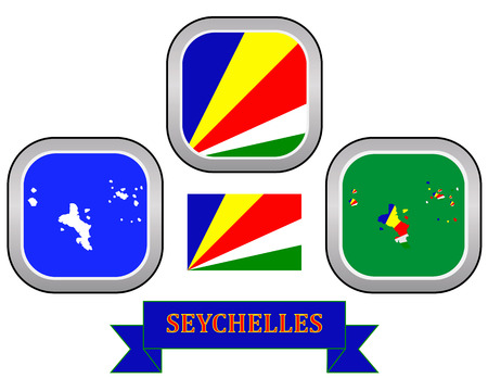 creole: map button flag and symbol of Seychelles on a white background Illustration