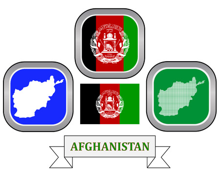 afghan: map button flag and symbol of Afghanistan on a white background