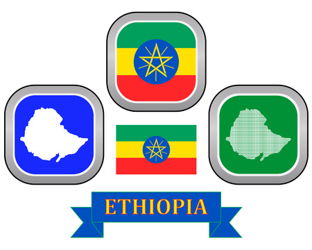 ethiopia abstract: map button flag and symbol of Ethiopia on a white background