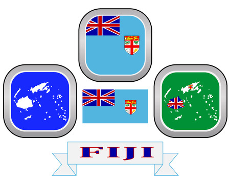 fijian: map button flag and symbol of Fiji on a white background Illustration