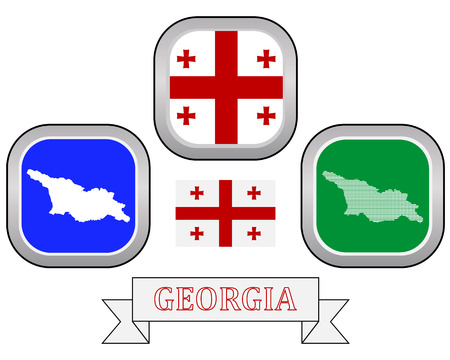 gürcü: map button flag and symbol of Georgia on a white background