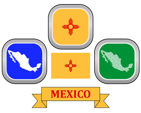 map button flag and symbol of Mexico on a white background Vector