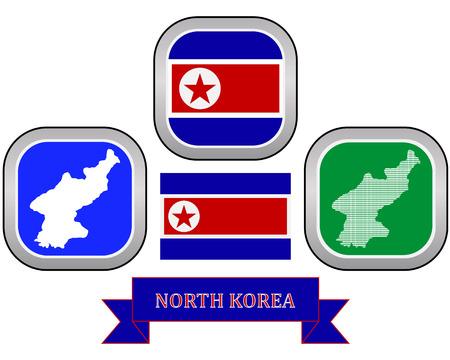 dictature: carte et drapeau de la Cor�e du Nord symbole sur un fond blanc