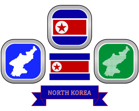 dictator: map and flag of North Korea symbol on a white background Illustration
