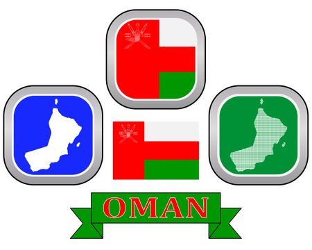 map button flag and symbol of Oman on a white background Illustration