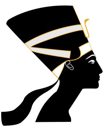 Egyptian Queen Nefertiti on a white background