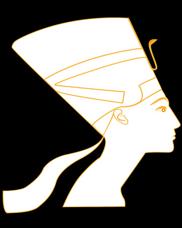 archaeological: silhouette of the ancient Egyptian queen Nefertiti on a black background Illustration