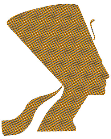 queen nefertiti: Egyptian queen Nefertiti black and yellow squares on a white background