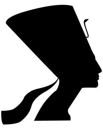 queen nefertiti: silhouette of the ancient Egyptian queen Nefertiti on a white background