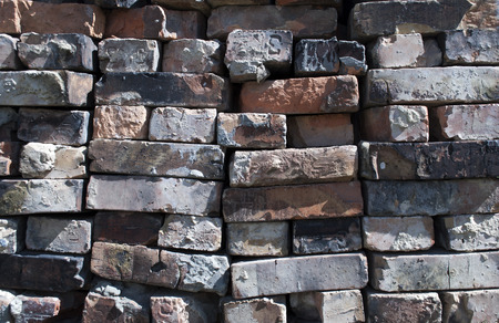 brick clay: old red brick clay, building construction Stock Photo