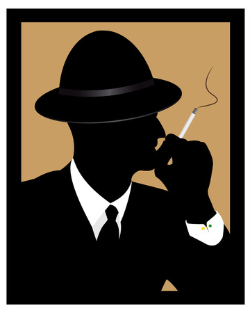 a side: thinking man in a hat smoking a cigarette
