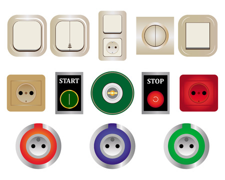 various switches sockets of different colors and types