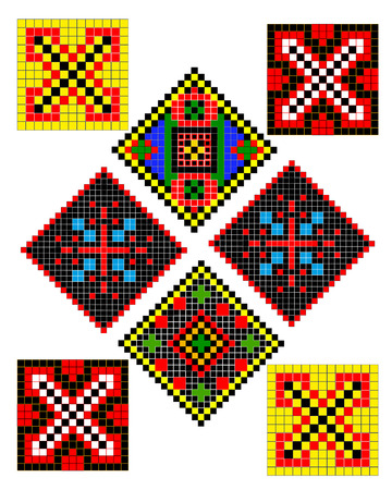 Ukrainian folk patterns of different types and colors Illustration