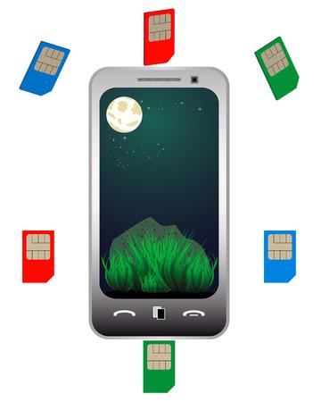different mobile phone sim cards of different colors Illusztráció