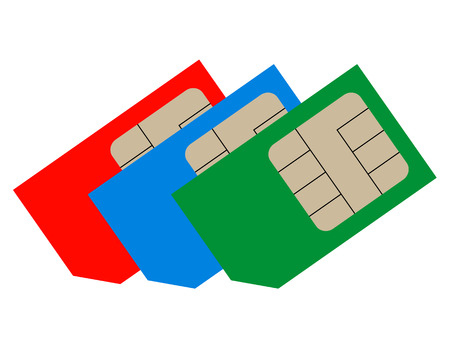 mobile phones: Three sim cards of different colors for mobile phones