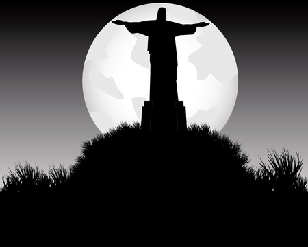 monumental: Jesus Chrestos monument on the mountain in the evening under the moonlight