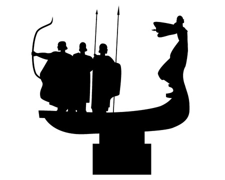 founders: Monument to the founders of Kiev Ukraine on a white background Illustration