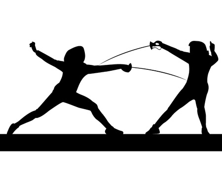 joust: foil fencing competition womens tournament without background Illustration