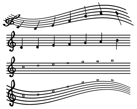 notes for the music to play on different instruments Stock Illustratie