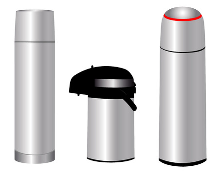 storing: Three different thermos for storing various hot drinks