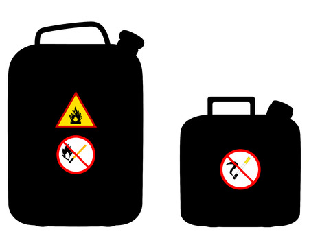 fuel storage tank: two canisters of fuel and the prohibitory signs