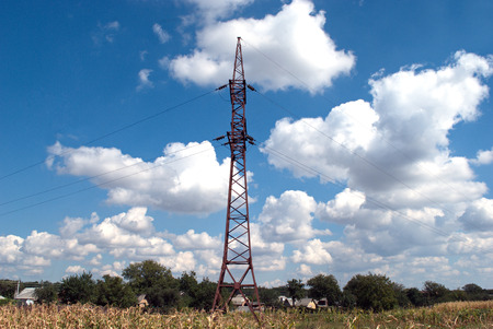 electricity supply: igh iron pole for electricity supply Stock Photo