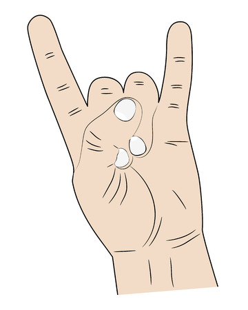 flick: sign hands index finger and pinky fingers raised up Illustration