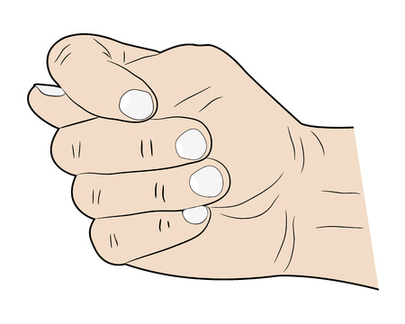 thumb the other fingers are bent on a white background Illustration