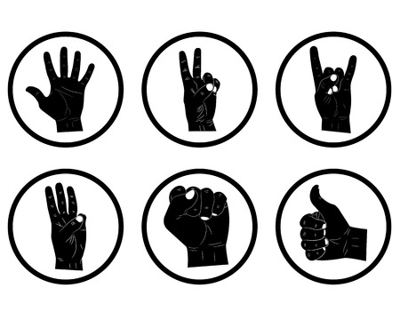 gestures: showing the the different the hand gestures in circles Illustration
