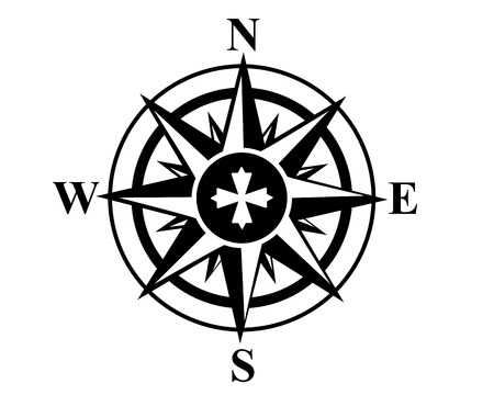 shut up: mariners compass on a white background Illustration