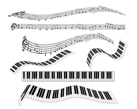 pentagrama musical: son diferentes de teclado de piano de notación el personal de notas clave de sol