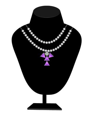 pietre preziose: perle di perle e pietre preziose su un manichino Vettoriali