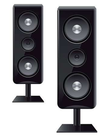 sonido: altavoces ac�sticos con tres altavoces para sonido Vectores