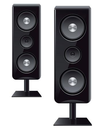 Kolumny akustyczne z trzech głośników do dźwięku Ilustracje wektorowe
