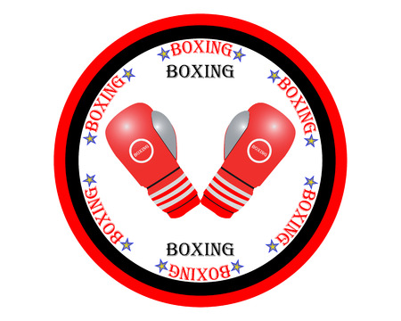 inscribed: red boxing gloves in a circle inscribed on the white background Illustration