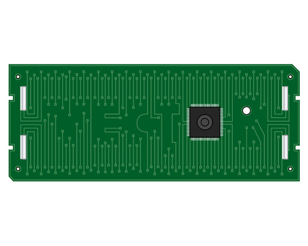 electronic board: green electronic board for a computer with an inscription