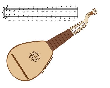 plucking: Kobza Ukrainian stringed musical instrument on a white background