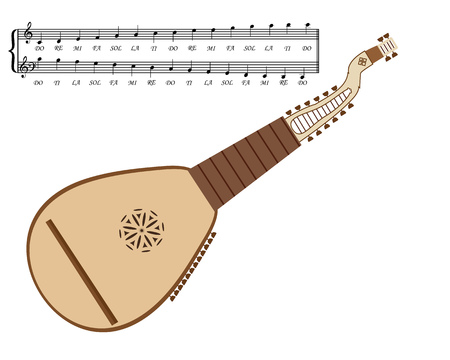 Kobza Ukrainian stringed musical instrument on a white background