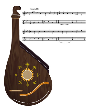 the song: Ukrainian bandura music instrument with music notes of the song