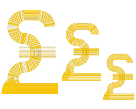 british currency: British currency pound sign sterling yellow in color