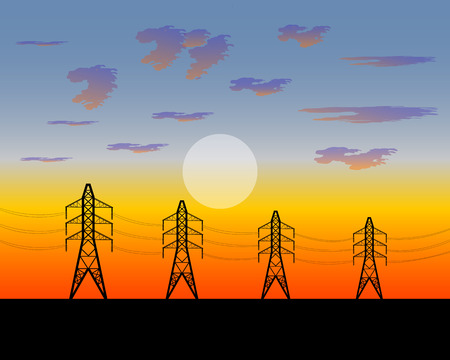strained: electric iron poles strained with wires