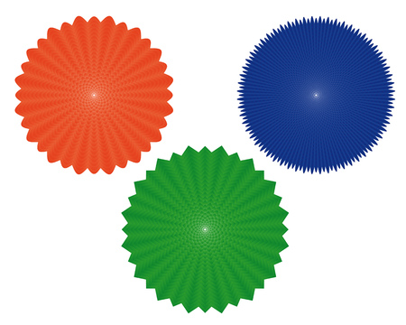 different figures: three geometric figures of of different colors