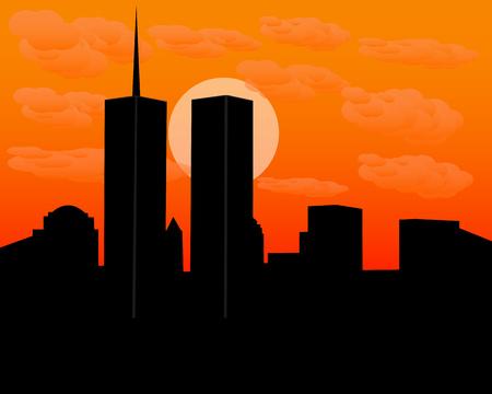 tours jumelles au coucher du soleil dans la soirée avec des nuages Vecteurs