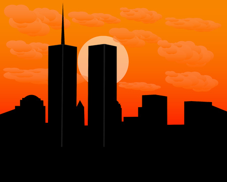 twin: twin towers at sundown in the evening with clouds
