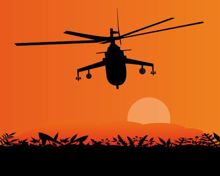 desert storm: military helicopter flying in the sky sunset Illustration