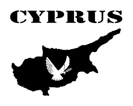 Black silhouette of a card and white silhouette of a Cyprus symbol Ilustracja
